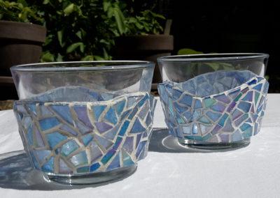 2 Photophores bleu clair, ligne bleu foncé